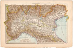 Felső - Olaszország térkép 1887, német, eredeti, régi, Európa, Itália, észak, címlap, 28 x 42 cm