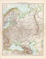 Oroszország európai része térkép 1881, német, eredeti, 41 x 53 cm, hátoldalán is térképek, Norvégia