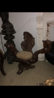 Hattyús faragott fa fotel
