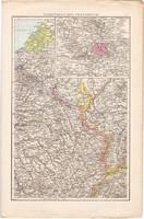 Északkelet - és Délnyugat - Franciaország térkép 1887, Európa, Gallia, antik, régi, eredeti, atlasz