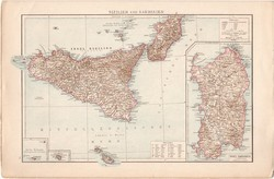 Szicília és Szardínia, Alpok térkép 1887, német, eredeti, Európa, Itália, antik, régi, atlasz