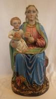 Antik vallásos , egyházi festett fa szobor , fafaragás , 53 cm