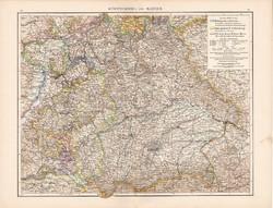 Württemberg ás Bajorország térkép 1881, Németország, eredeti, 41 x 53 cm, hátoldalán is térképek