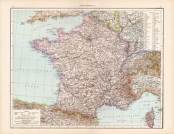 Franciaország térkép 1881, német, eredeti, 41 x 53 cm, hátoldalán is térképek, Olaszország, régi