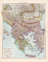 Balkán - félsziget térkép 1881, német, eredeti, 41 x 53 cm, hátoldalán is térképek, Görögország
