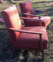 60'-as évek skandináv stílusú magyar retro fotel szék 2 sárgás 2 piros felujitásra kreativ célra