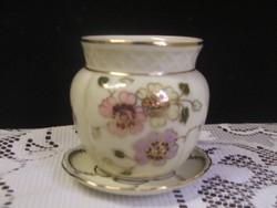 Zsolnay kézzel festett pillangós váza,tálkával