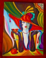 A szingl art deco olaj festmény 3D feszitett vászonra Seres Sándortól