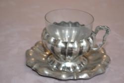 Ezüst kávés csésze üvegbetéttel