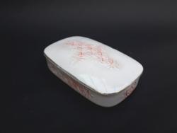Hollóházi retro porcelán doboz - ékszertartó, cukortartó