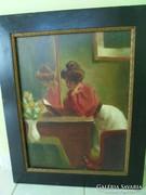 Szignált olaj vászon enteriőr olvasó hölggyel