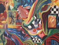 Pap Melinda: Zene, óriási absztrakt - szürrealista festmény 125 x 100 cm