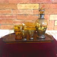Antik mézüveg ,ezüsttel festett likőrös és társai