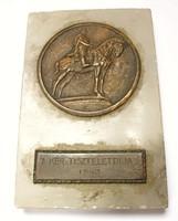 '7. Kerület tiszteletdíja 1943',lovasszobros plakett.