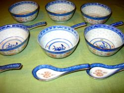 12 részes Kínai rizses tál  leveses tálka  rizsszem mintás kanállal