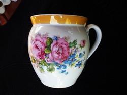 Régi, rózsás, nefelejcses hasas csésze