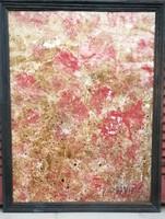Hantai Simon : Absztrakciós folyamat II IPiros Olaj .papír. Mérete: 50x40 cm