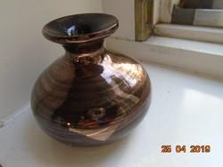 Arany csíkos barna, kis szignós művészi kerámia váza