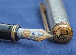 Ezüst Pelikán töltőtoll-18 K. aranyozott heggyel
