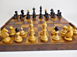 Intarziás antik fa sakk-készlet  , sakk , nagy méret