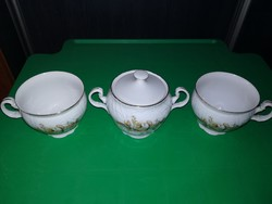 Jelzett Csehszlovák porcelán cukortartó csészékkel