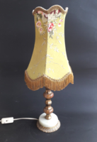 Barokkos lámpa - ónix-réz talpon - sárga búrával