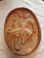Zsolnay terrakotta fali szobor -sörivó- dupla zsolnay jelzéssel eladó