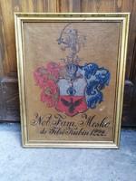 Kézzel festett nemesi címer - Felsőkubinyi Meskó család