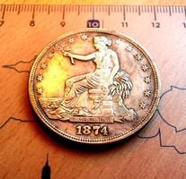 PATINÁS USA TRADE DOLLAR 1874 CC- U.V.