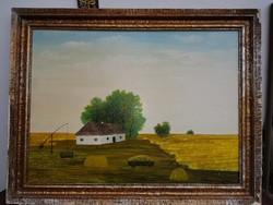 86x64 plusz keret, mező tanyával, olaj, farost
