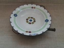 Régi tányér melegen tartó alsó résszel réz fogókkal és csavaros csappal.
