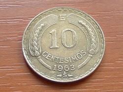 CHILE 10 CENTESIMOS 1963  #