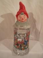 Üveg - Osztrák - söröskorsó - festett - talp - fül - tető cin - törpe fej gumi fél liter - hibátlan
