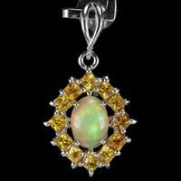 Valodi Termeszetes 7x5mm Opal Sarga Zafir 925 Ezust Medal