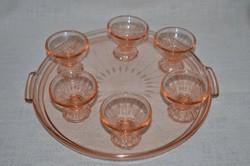 Rózsaszín likőrös poharak, tányérral  ( DBZ 00115 )