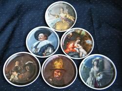 Ritka, teljes, 6 részes Kaiser porcelán dísztál szett híres festményekkel