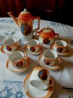 Antik Zsolnay lüsztermázas, jelenetes kávés készlet