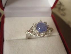 Üde kék tanzanit és fehér topáz köves ezüst gyűrű 925