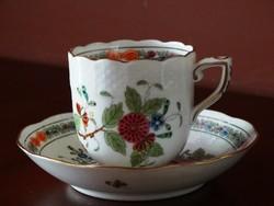 Herendi színes indiai kosár mintás kávés szett, csésze + alj