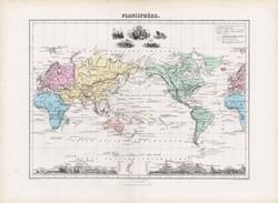 Világtérkép 1877, francia, atlasz, eredeti, 35 x 48 cm, térkép, világ, Planisphere, vulkán, hegy