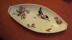 FISCHER IGNÁC--csónak alakú antik, madárka és vadrózsa motívummal díszített KÍNÁLÓ-1800-as évek vége