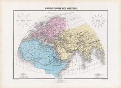 Antik világ térképe, készült 1877, francia, atlasz, eredeti, 35 x 48 cm, világtérkép, térkép, régi