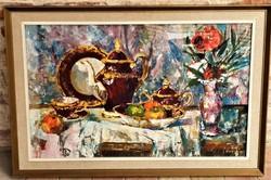 Vati József (1927 - 2017) Rosenthall csendélet festménye 90x60cm EREDETI GARANCIÁVAL !