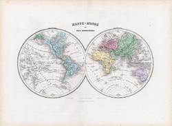 Világtérkép 1877, francia, atlasz, eredeti, 35 x 48 cm, térkép, világ, két félteke, Hemisphere, régi