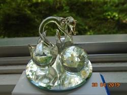 Swarovski 2 aranyozott kristály hattyú, kristály gömbbel