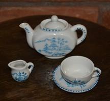 Babakonyhába való antik japán mintás porcelán csésze szett+kancsó+kiöntő