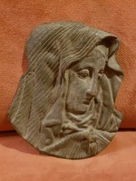 Szecessziós asszonyfej, bronz, 65 dekagramm, dombormű