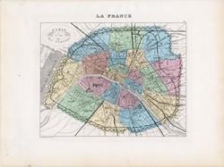Párizs térkép 1877, francia, atlasz, eredeti, 26 x 35 cm, XIX: század, régi, Franciaország, főváros