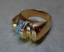 Szép nagy sárga fehér arany gyűrű gyémántokkal