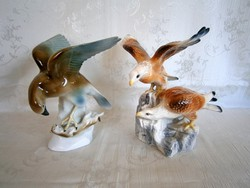 Nagyon ritka Lippelsdorfi menyétet fogó sas és sas pár sziklán 2 db porcelán figura
